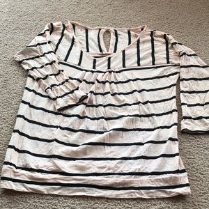 Loft size medium striped top pink/black
